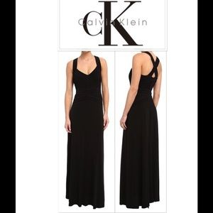 Calvin Klein black satin gown sz8